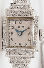 Antique 1940s $3000 IRIS 1ct VS G Diamond Ladies Platinum Watch WARRANTY