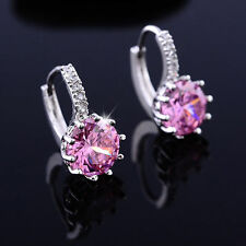 Simple & Elegant 925 Sterling Silver LOVELY PINK Crystal Hoop Earrings Jewelry