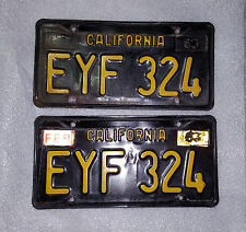 VINTAGE CALIFORNIA1963 BASE BLACK YELLOW LICENSE PLATES