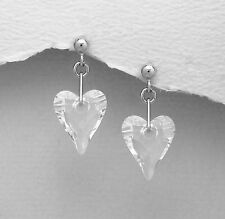 925 Sterling Silver Earrings made with SWAROVSKI CLEAR CRYSTAL WILD HEARTS