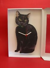 NEW Black Cat Wooden Wall Clock Cats Pet Good Luck Gift Vet Cattery Home Xmas