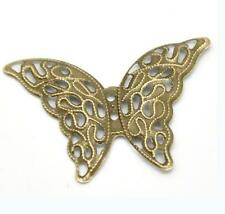 10pc 4.1x2.9cm antique bronze filigree butterfly wraps-1141