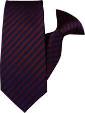 Dark Red and Navy Stripe Clip On Tie (JH-1010)