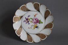 Meissen Bunte Blumen Fächerschale Waffel Schale 23 cm 1.Wahl Goldzier um 1900