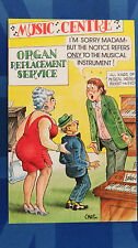 A Bamforth Comic Postcard 1970s ORGAN REPLACEMENT SERVICES MUSIC CENTRE FF 028