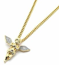 "Men 14k Gold Plated Si Stardust Long Wings Angel Pendant Hip-Hop 30"" Cuban Chain"