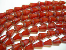 18 Czech Glass Silky Red Wine Picasso Faceted Teardrop Beads 8x6mm
