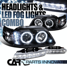 99-04 Ford Mustang Black Dual Halo Projector Headlights+6-LED Bumper Fog Lamps