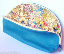 Sisley Paris Turquoise Blue Faux Leather Makeup Bag Cosmetic Case Pouch New