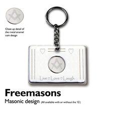 """MASONIC (No """"G"""") motif Metal Keyring, Key Ring : White enamel coin"""