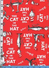 Fabric Kaufman CAT IN THE HAT on red  DR. SEUSS