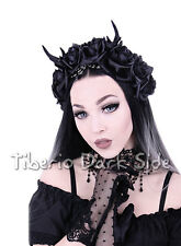 Restyle Deer Antlers Horns Roses Bead Chain Dryad Fairy Nu Goth Black Hair Band