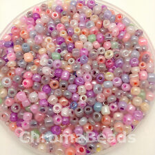 50g glass seed beads - Ceylon, size 6/0 (approx 4mm) - choice of colours