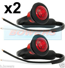 2 x 12V/24V RED SMALL ROUND LED BUTTON REAR MARKER LAMPS/LIGHTS UNIVERSAL TRUCK