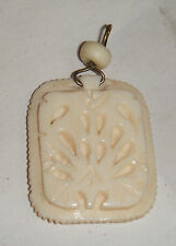 VINTAGE ANTIQUE CARVED COW BOVINE BONE PEACOCK PATTERN NECKLACE PENDANT CHINESE
