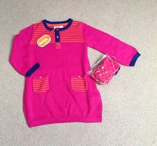 New Blue Zoo Dress Knitted, 18-24mths, With Matching Tights ,Pink, Orange, Blue
