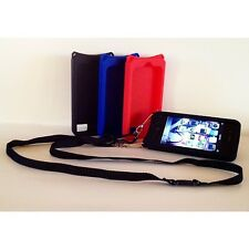 iPhone 4 4s GEL BLACK case with Adjustable Detachable Safety Lanyard