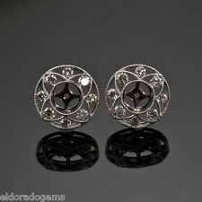 18K WHITE GOLD 1.35 ct DIAMOND JACKETS & STUD MOUNT EARRINGS EACH 0.25 - 0.50 ct
