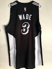 Adidas Swingman 2015-16 NBA Jersey Miami Heat Wade Black Fashion sz XL
