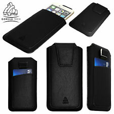 New Luxury Leather Pull Up Tab Pouch Pocket Case Stylish Cover For Mobile Phones