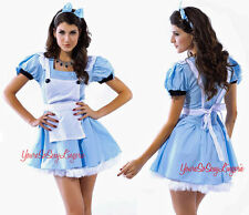Sexy ALICE IN WONDERLAND Costume MINI DRESS Apron TULLE Underskirt Cotton OS
