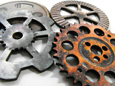 Laser Cut Gears - Collection of 4 Dirty Wooden Gears for Altered Art Projects