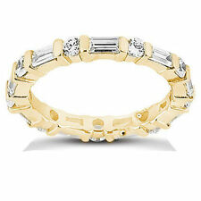 2 carat total Round & Baguette DIAMOND Eternity Band 14K Yellow Gold Ring
