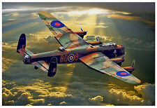 "AVRO LANCASTER BOMBER DAMBUSTER RAF WW2 LARGE PAINTING CANVAS ART PRINT 20""X30"""