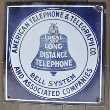 "Antique American Telephone & Telegraph Co. Porcelain Flat Sign 16"" AUTHENTIC"