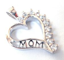 "MOTHERS DAY ""MOM"" Heart-Shaped Pendant Studded w/ CZ Gems .925 STERLING SILVER"