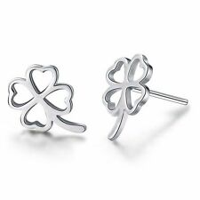 "Pretty New Silver White Gold Filled 1/2"" 4 Leaf Clover Stud Post Earrings"