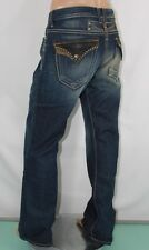 100% AUTHENTIC NEW ROBIN'S JEAN MEN'S SZ 40 LEATHER STUD LONG FLAP BLUE DENIM