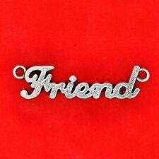3 x Plata Tibetana 'amigo' Conector Colgantes Joyería Collar de encanto de placa