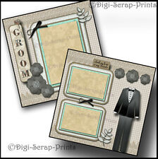 WEDDING #two groom 2 premade scrapbook pages for album layout ~ By digiscrap