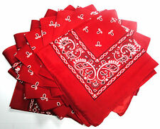 Red Bandana 12 Pieces Wholesale Lot NIP Scarf Party Favor