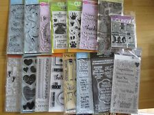 mixed lot 16 pkg clear & cling stamps Inkadinkado Hero Hampton Arts KI Memories