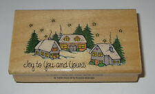 Joy To You and Yours Rubber Stamp Christmas Village Stars Snow Houses Retired