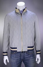 NWT New * KITON *$8200 Reversible Light Gray-Navy Cashmere-Silk Bomber Jacket 40