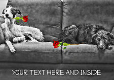 PERSONALISED DEERHOUND LURCHER DOG VALENTINE MOTHERS DAY ANY OCCASION CARD