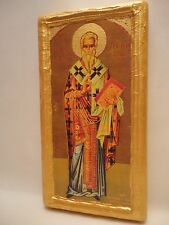 Saint Peter Petros Bishop of Argos Byzantine Greek Orthodox Icon on Real Wood