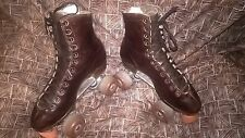 Size 5 1/2 men 6 1/2 ladies Brown red Riedell Redwing Roller Skates high Tops