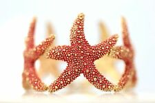 D23 Textured  Coral Red Metal Starfish Stretch Bangle Bracelet Boutique