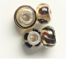 Set of 4 Rhona Sutton 925 sterling silver core Black & Gold Glass Charm Beads