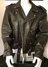 Black Leather Motorcycle Jacket By HOT LEATHERS Men's XXL SZ 50 Cafe Racer