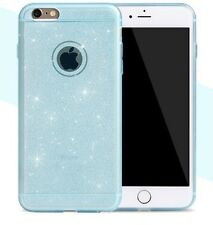 Etui Coque Iphone 6 6s Bling Paillettes Bleu Blue Azul Case Backcover Silicone