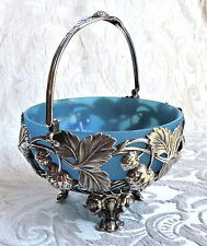 Antique Silver Plate Bride Basket Blue Glass c1880 Strawberries Embossed