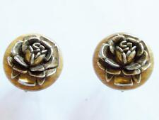VINTAGE 40'S CLAD METAL PLATED FLORAL MROSE CELLULOID BAKELITE ERA WOOD EARRINGS