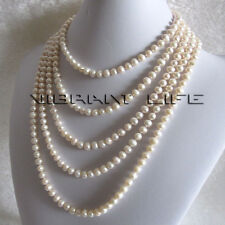 "Long 100"" 6-7mm White Freshwater Pearl Necklace Natural Color FR"