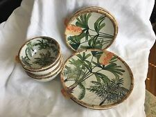 TOMMY BAHAMA 12 PC NWT MELAMINE DINNERWARE PALM TREES RATTAN SERVICE FOR 4