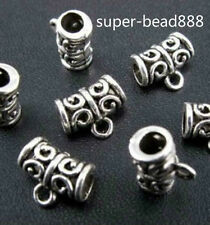 60Pcs Tibetan Silver Charms Bail Connector Spacer Beads Fit Bracelet 11x9mm Free